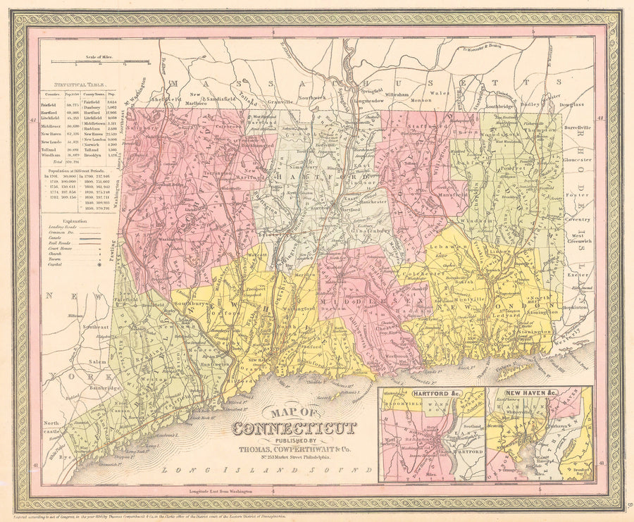 Authentic Antique Map of Connecticut: Connecticut By: Thomas Cowperthwait & Co. 1852 (published)