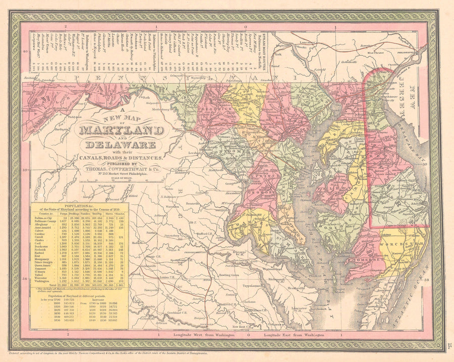 Authentic Antique Map of Maryland and Delaware: Maryland & Delaware By: Thomas Cowperthwait & Co. 1852 (published)