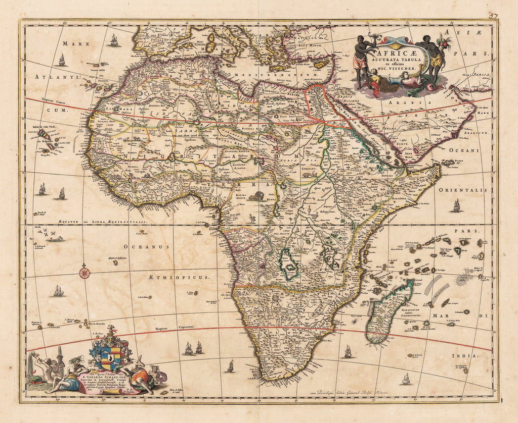 Authentic Antique Map of Africa: Africae Accurata Tabula ex officina By: Nicolas Visscher Date: 1677 (circa)