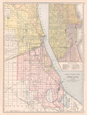 1898 Railway Terminal Map of Chicago