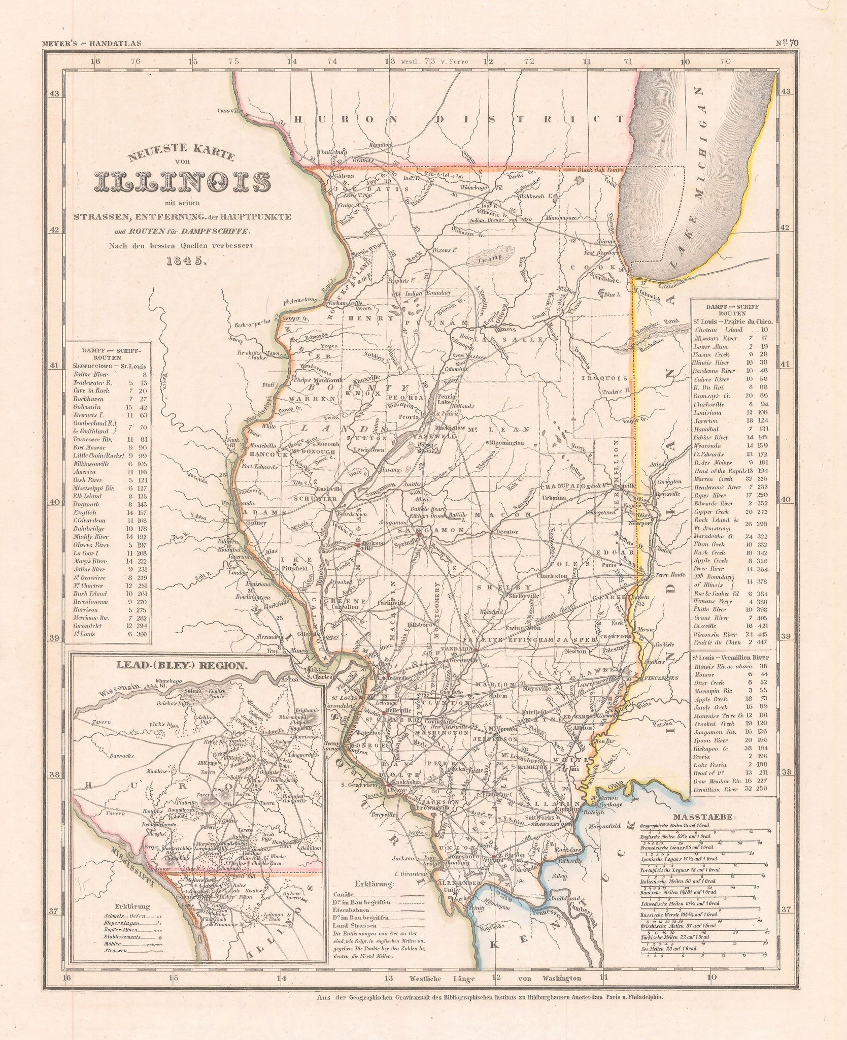 Authentic Antique map of Illinois: Neueste Karte von Illinois. By: Meyer 1845 (dated)