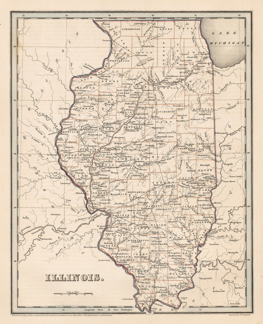 Authentic Antique Map of Illinois: Illinois By: T.G. Bradford  Date: 1838 (dated)