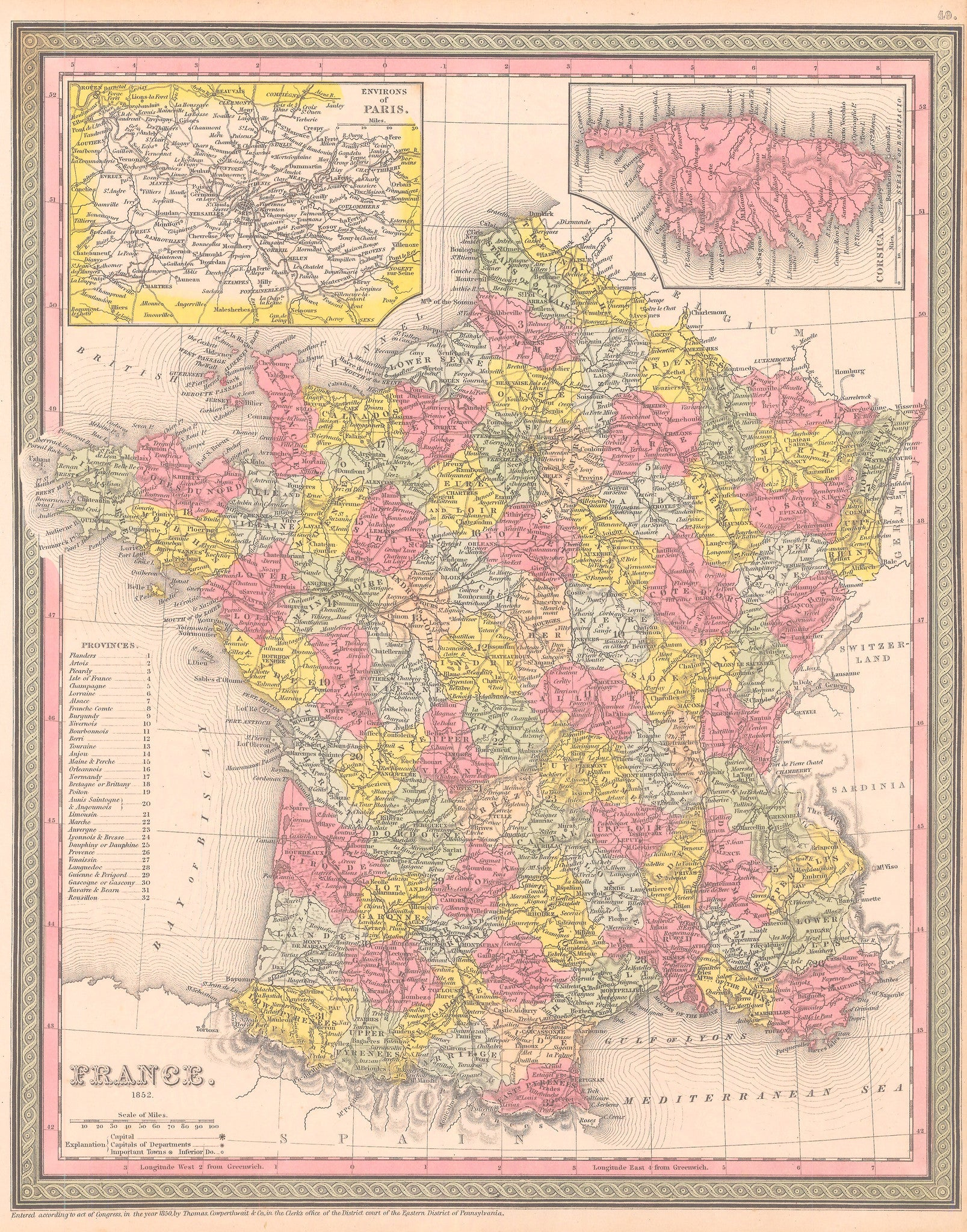 Authentic Antique Map of France: France By: Mitchell / Cowperthwait & Co. Date: 1852 (dated)