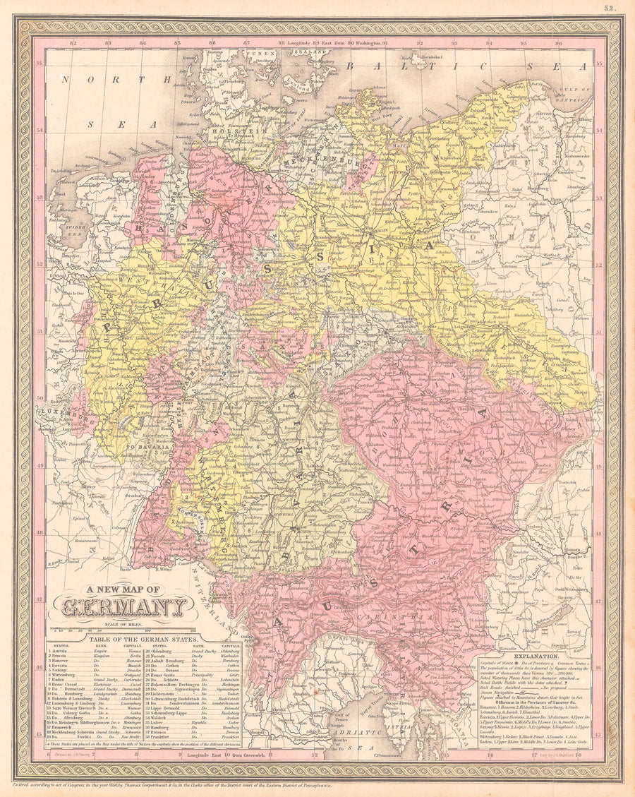 Authentic Antique Map of Germany: Map of Europe By: Thomas Cowperthwait & Co.Date: 1850 (dated)