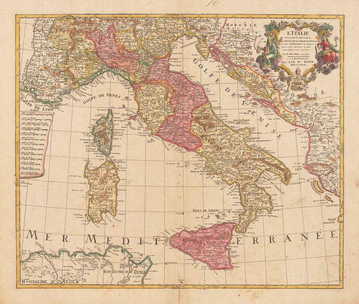 Authentic Antique Map of Italy showing Sicily, Sardinia and Corsica: L'Italie Dressee sur les Observations de Mrs. de l'Academie Royale des Sciences By: Jan Barend Elwe Date: 1792 (dated)