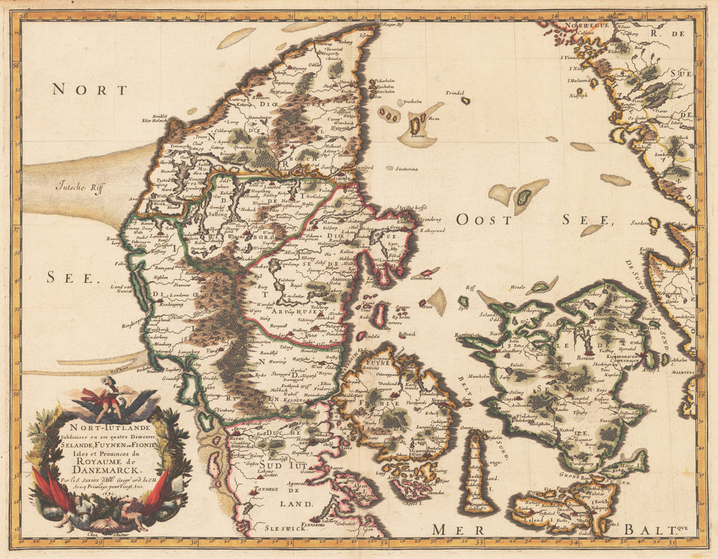 Authentic Antique Map of Denmark: Nort-Iutlande Subdiuisee en ses Quatre Dioeceses; Selande, Fuynen ou Fionie, Isles etProuinces du Royaume de Danemarck By: Nicolas Sanson Date: 1679 (dated)