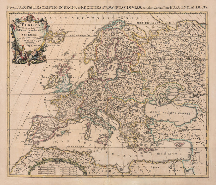 1733 L'Europe Dressee sur les Observations de Mrs. de l'Academie Royale des Sciences