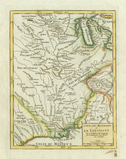 Authentic Antique Map of the Mississippi River Valley, Michigan and the Northern Plains. Cours du Mississipi et la Louisiane. By: Didier Robert de Vaugondy 1749 (circa)