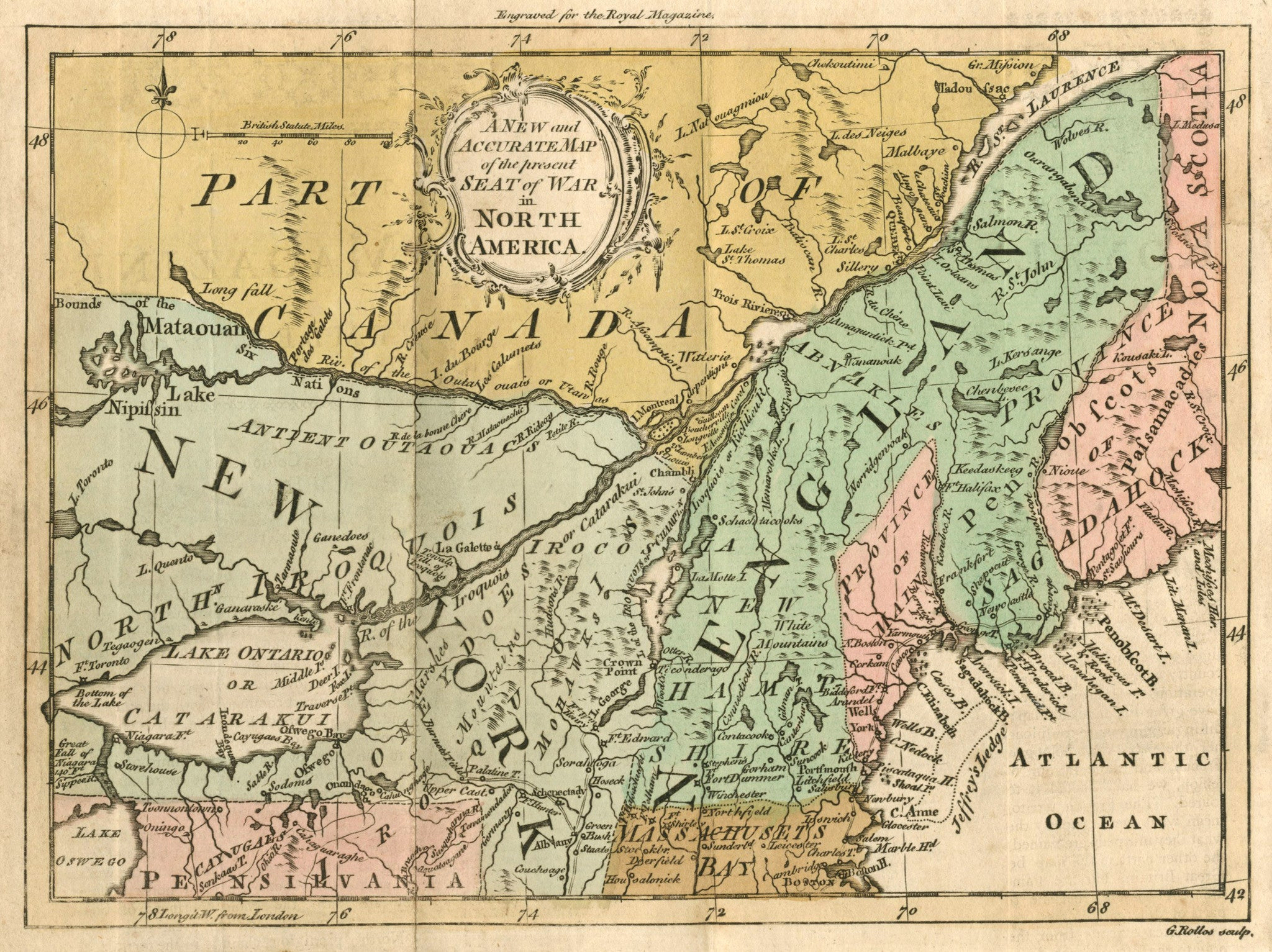 1759 A New and Accurate Map of the Present Seat of War in North America