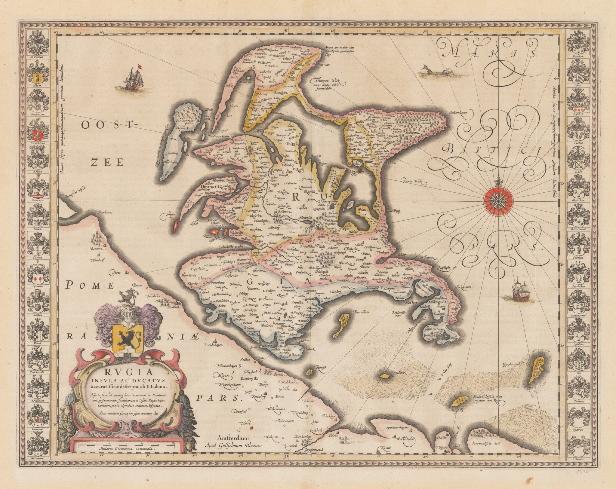 Authentic Antique Map: Rugia Insula ac Ducatus accuratissime descripta ab E. Lubino By: Willem Blaeu Date: 1631 – 1635