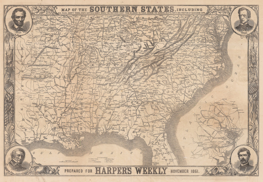 1861 Map of the Southen States...
