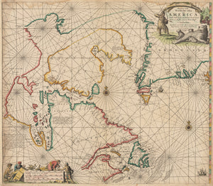 Authentic Antique Map of Hudson Bay, Labrador and Greenland: Pascaarte vande Noorder Zee custen van America... By: Gerard Van Keulen Date: 1681 Amsterdam