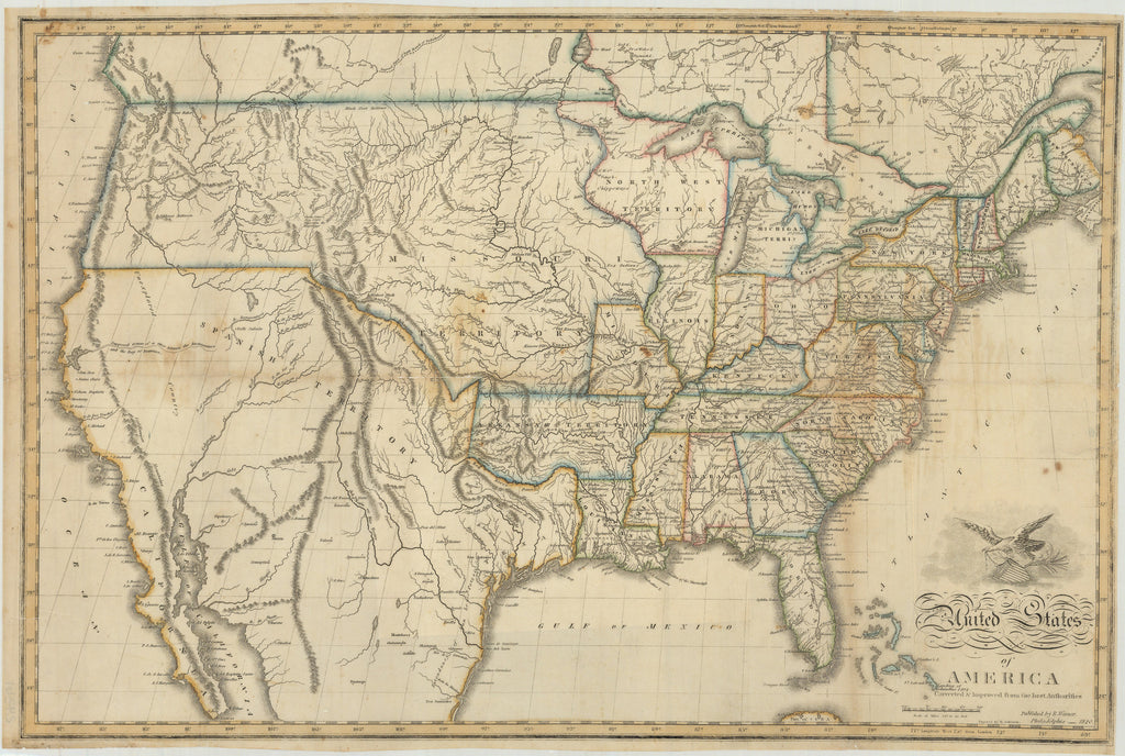United States Of America Corrected Improved From The Best - Map of us in 1820