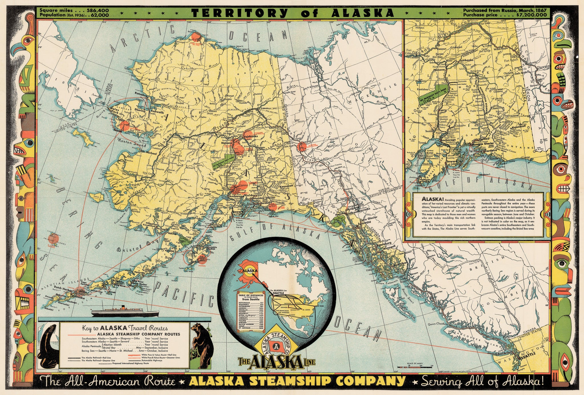 Authentic Antique Map of the Territory of Alaska: The Alaska Line: Alaska Steamship Co. By: Frank McCaffrey Date: 1936 (dated)