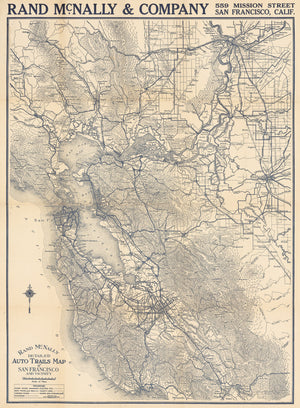 1920 Rand McNally Detailed Auto Trails Map of San Francisco and Vicinity
