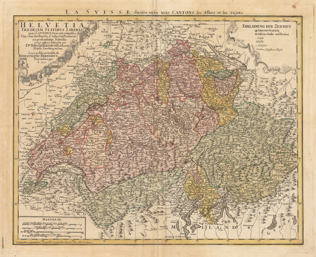 Authentic Antique Map of Switzerland: Helvetia Tredecim Statibus Liberis quos Cantones... By: Homann Heirs Date: 1751 (dated)