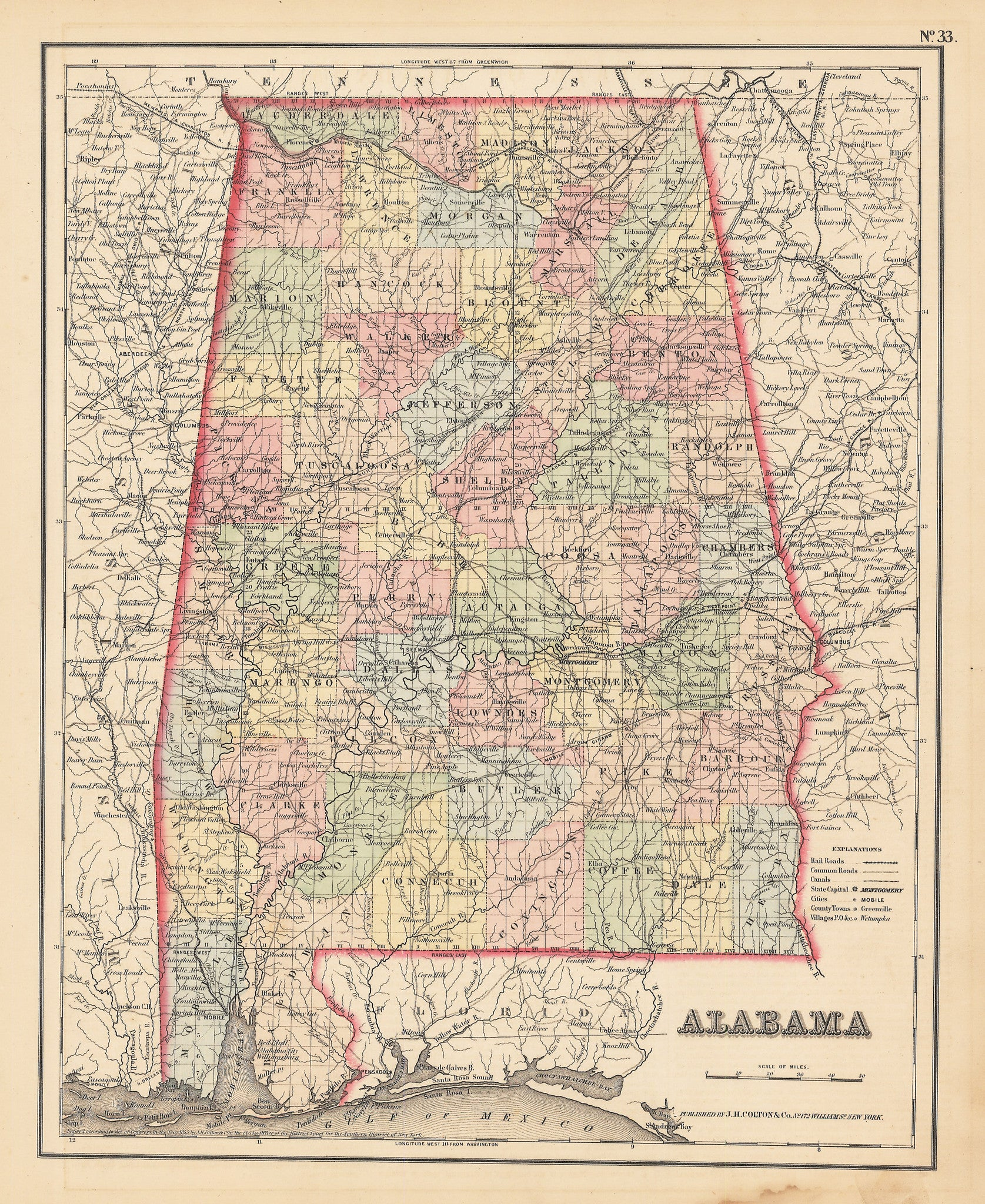 Authentic Antique Map of Alabama: Alabama By: J.H. Colton 1855 (published)