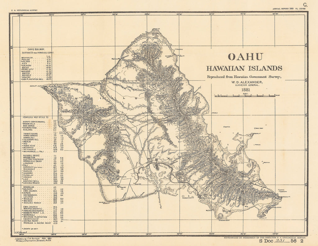 Authentic Antique Map of Oahu: Oahu Hawaiian Islands By: W.D. Alexander Date: 1893 (dated)