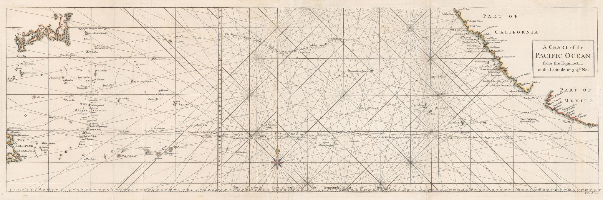 1748 A Chart of the Pacific Ocean from the Equinoctial to the Latitude of 39 1/2d. No.