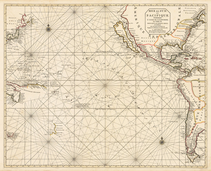 Authentic Antique Map of the Pacific: Mer De Sud ou Pacifique. Contenant L'Isle de Californe, les Costes de Mexique, du Perou, Chili, et le Detroit de Magellanique , & c. By: Pierre MortierDate: 1693 (circa)