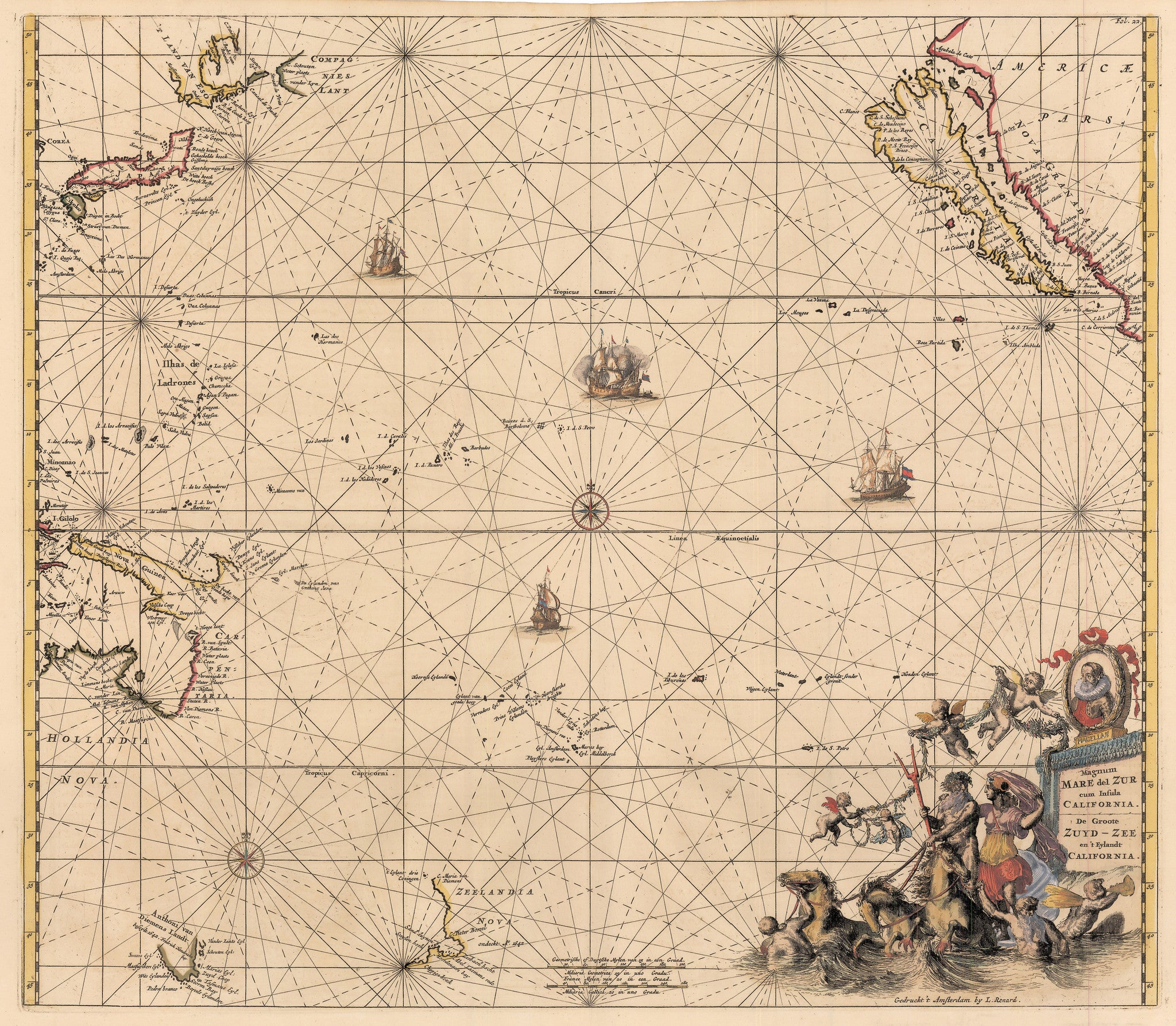 Authentic Antique Map of the Pacific Ocean showing California as an island: Magnum Mare del Zur cum Insula California... By: Renard / De Wit Date: 1715 (circa)