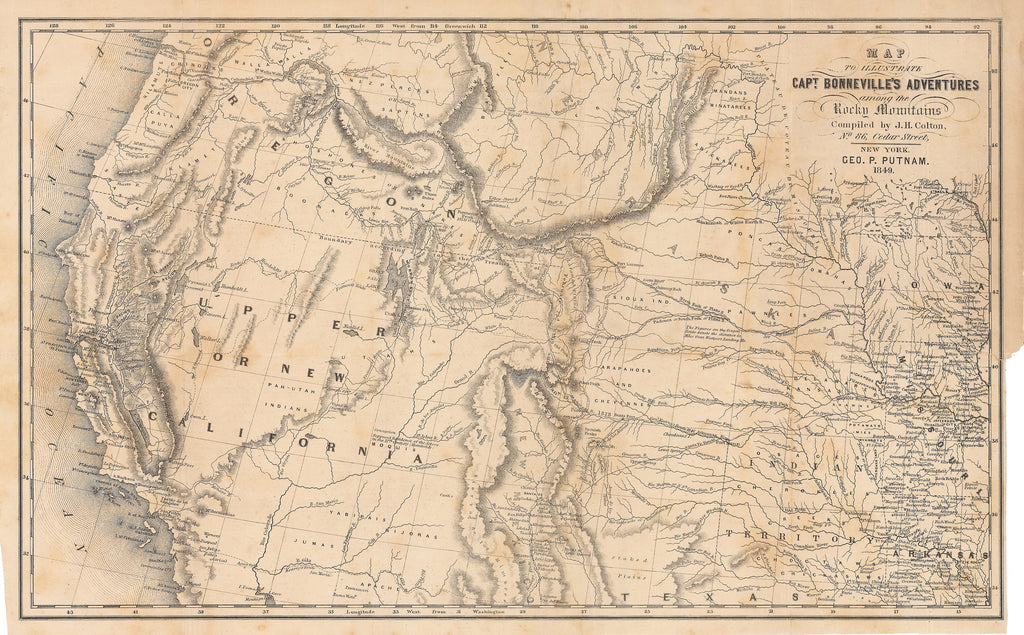 1849 Map Illustrating Capt. Bonneville's Adventures among the Rocky Mountains