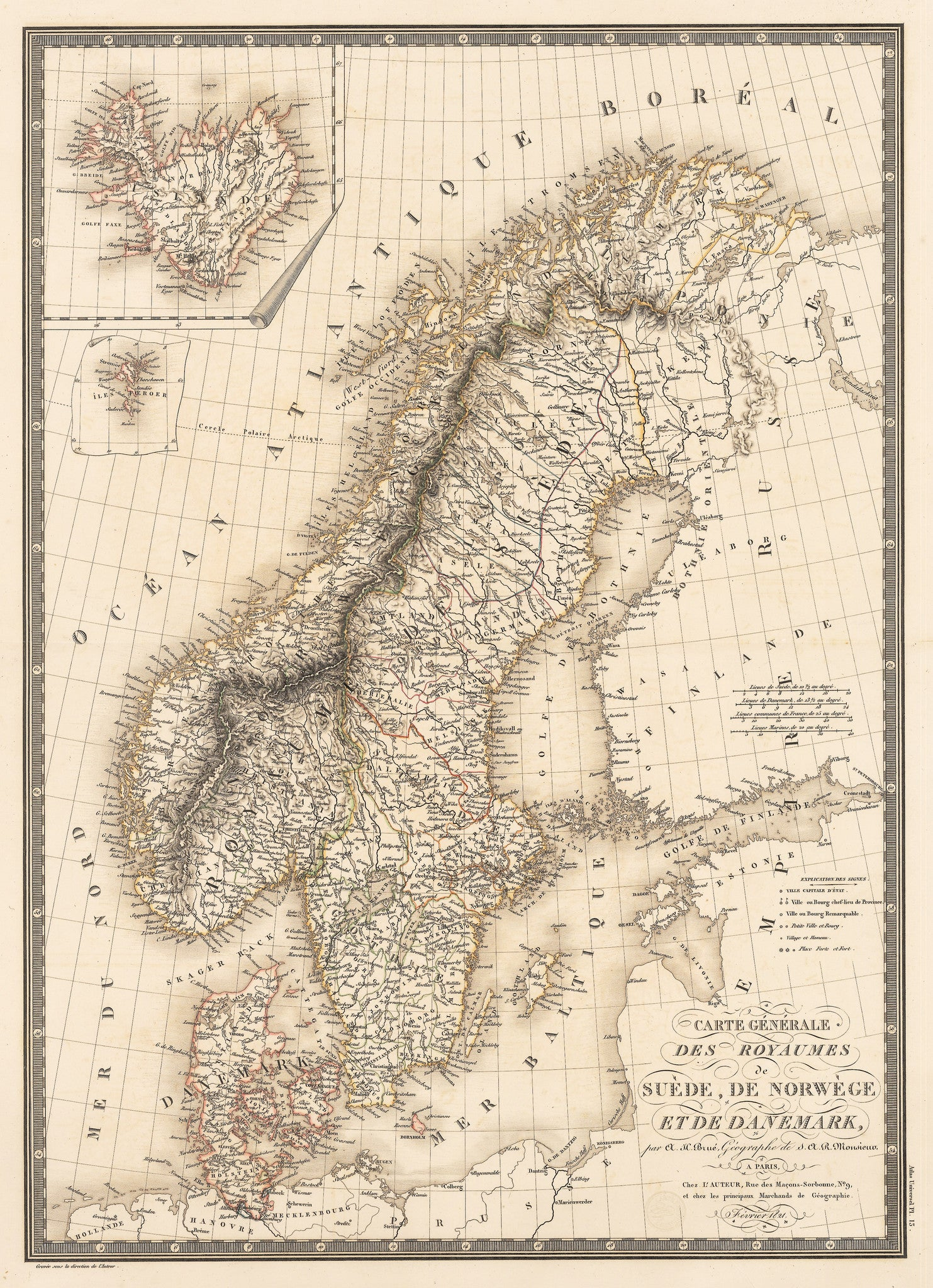 Authentic Antique Map of the Baltic countries showing Norway, Sweden and Denmark: Carte Generale des Royaumes de Suede de Norwege et de Danemark By: Adrien-Hubert BrueDate: Febuary, 1821 (dated)