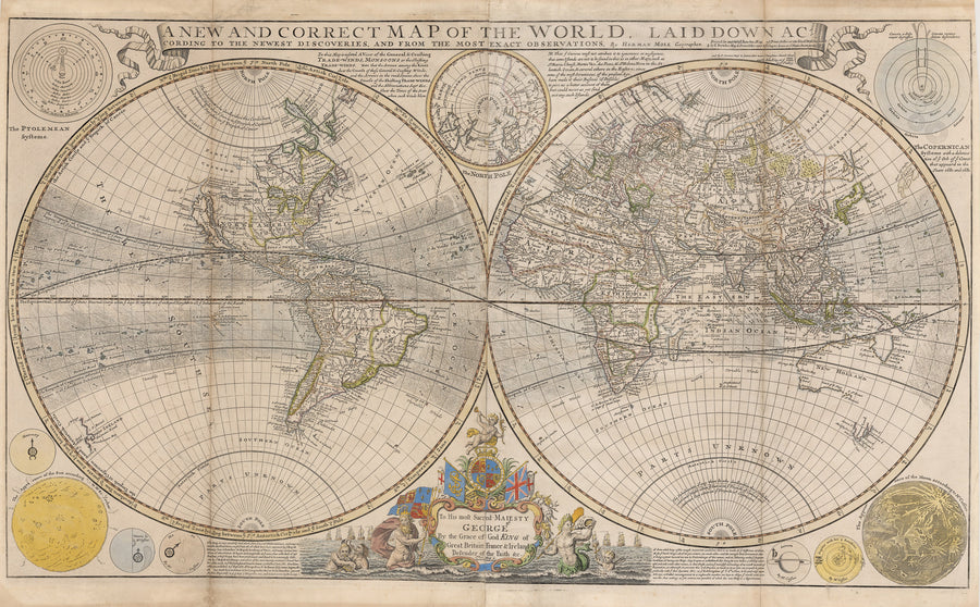1720 New and Correct Map of the World, Laid Down According to the Newest Discoveries, and From the Most Exact Observations