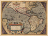 Authentic Antique Map of the Western Hemisphere: Americae sive Novi Orbis, Nova Descriptio By: Abraham Ortelius Date: 1598 (published) Antwerp