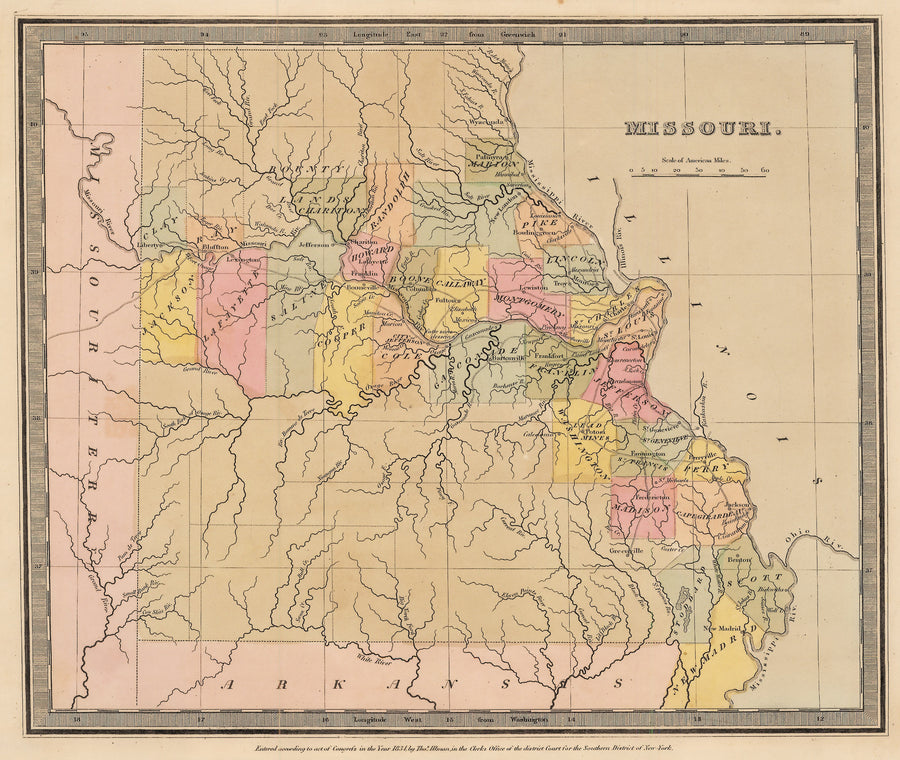 Authentic Antique Map of Missouri 1835: By: David Burr / Thomas Illman