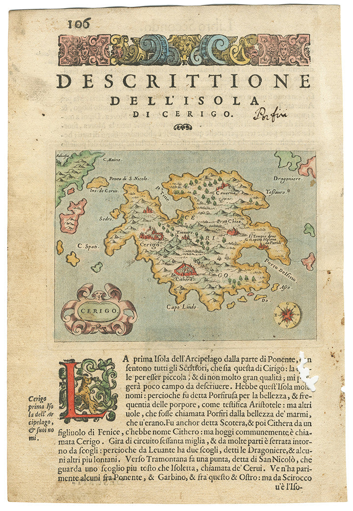 Authentic Antique Map: Greece - Cerigo By: Tomaso Porcacchi Date: 1574 (published) Venice