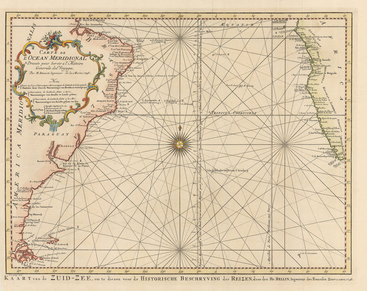 Authentic Antique Map of the southern Atlantic Ocean with portions of South American and Africa: Carte de L'Ocean Meridional Dressee pour Servir a l'Histoire Generale des Voyages... By: Bellin / Van Schley Date: 1746 (dated)