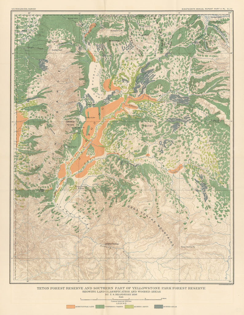 1898 Teton Forest Reserve and Southern Part of Yellowstone Park Forest Reserve Showing Land Classification and Wooded Areas