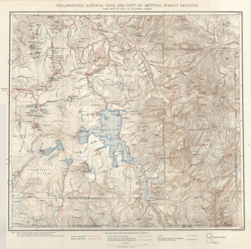 1900 Yellowstone National Park And Part Of Abutting Forest Reserve - Yellowstone-us-map