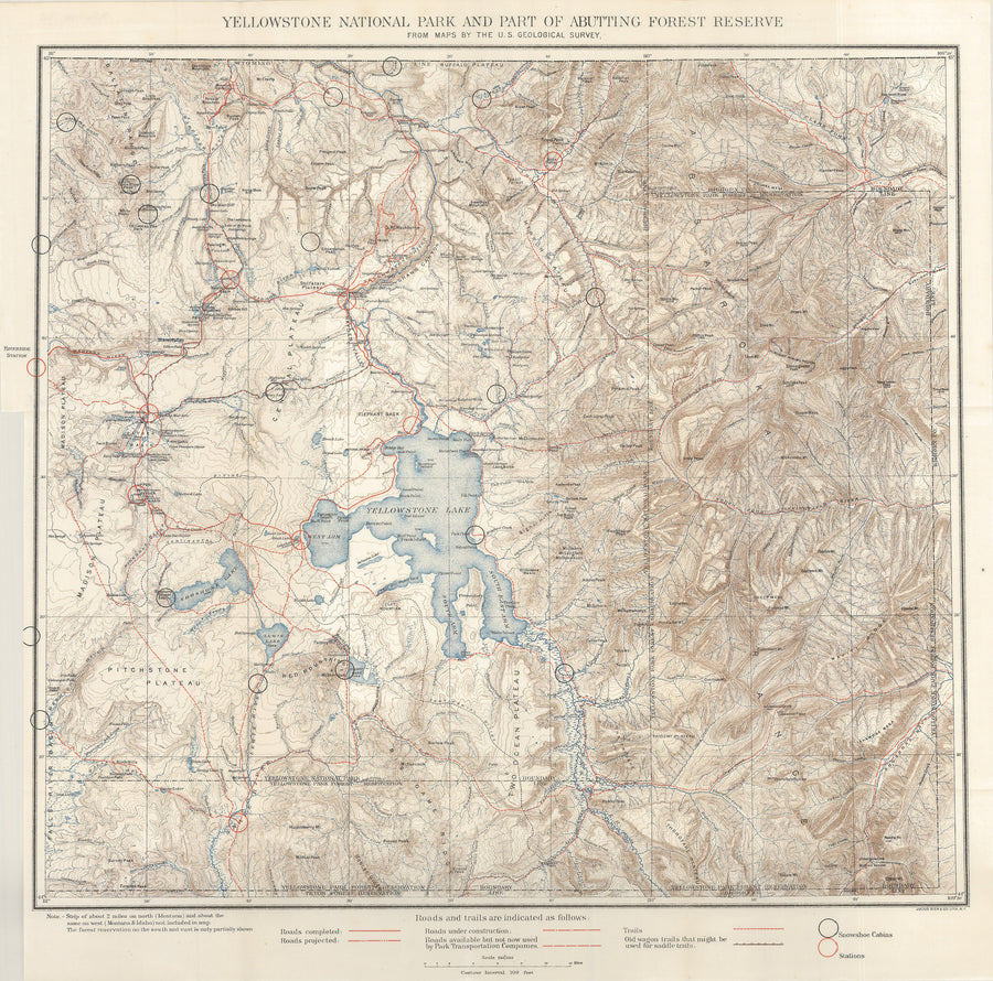 1900 Yellowstone National Park and Part of Abutting Forest Reserve from Maps by the U.S. Geological Survey