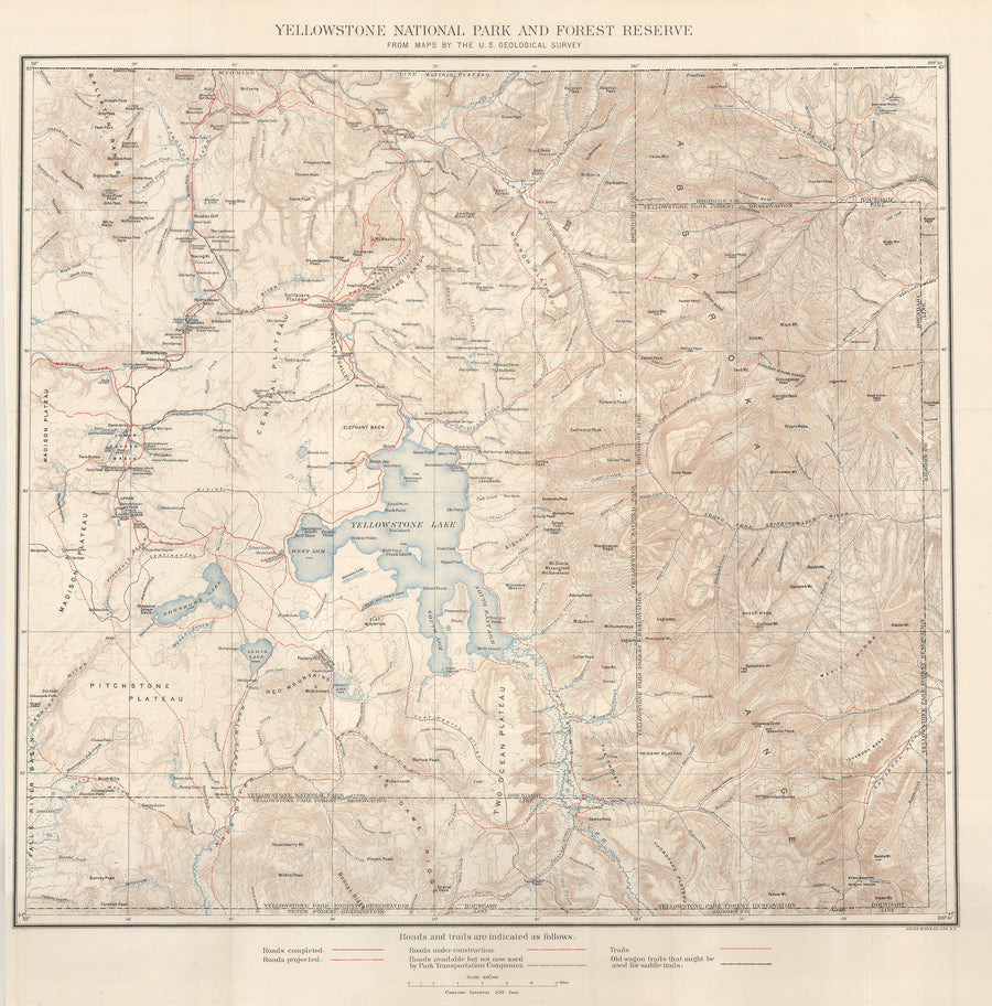 1900 Yellowstone National Park and Forest Reserve from Maps by the U.S. Geological Survey