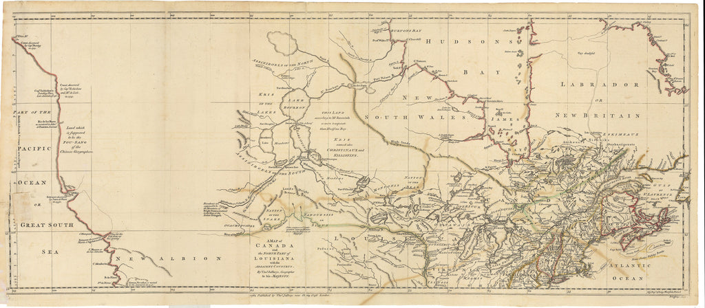 North Louisiana Map.1762 A Map Of Canada And The North Part Of Louisiana With The
