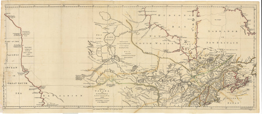1762 A Map of Canada and the North Part of Louisiana with the Adjacent Countrys