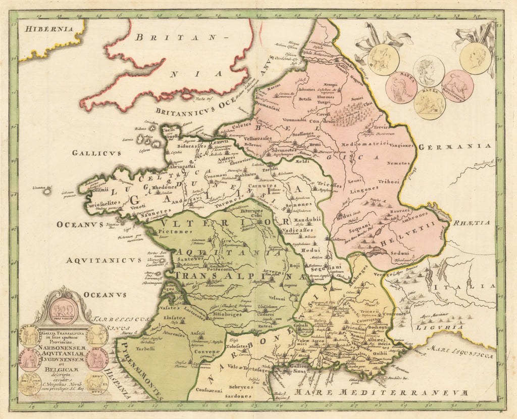 HJBMaps.com - Antique Map of France : Galia Transalpina in fuas quatuor Provinicas...  By: Christopher Weigel  Date: 1720 (published) Nuremberg.  Dimensions: 12 x 15 inches (30.48 x 38.1 cm)