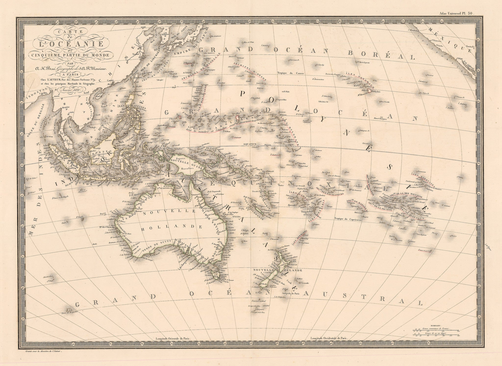 Authentic Antique Map of Australia and the islands of the Pacific Ocean: Carte de l'Oceanie ou Cinquieme Partie du Monde By: Adrien Hubert BrueDate: 1820 (Dated) Paris