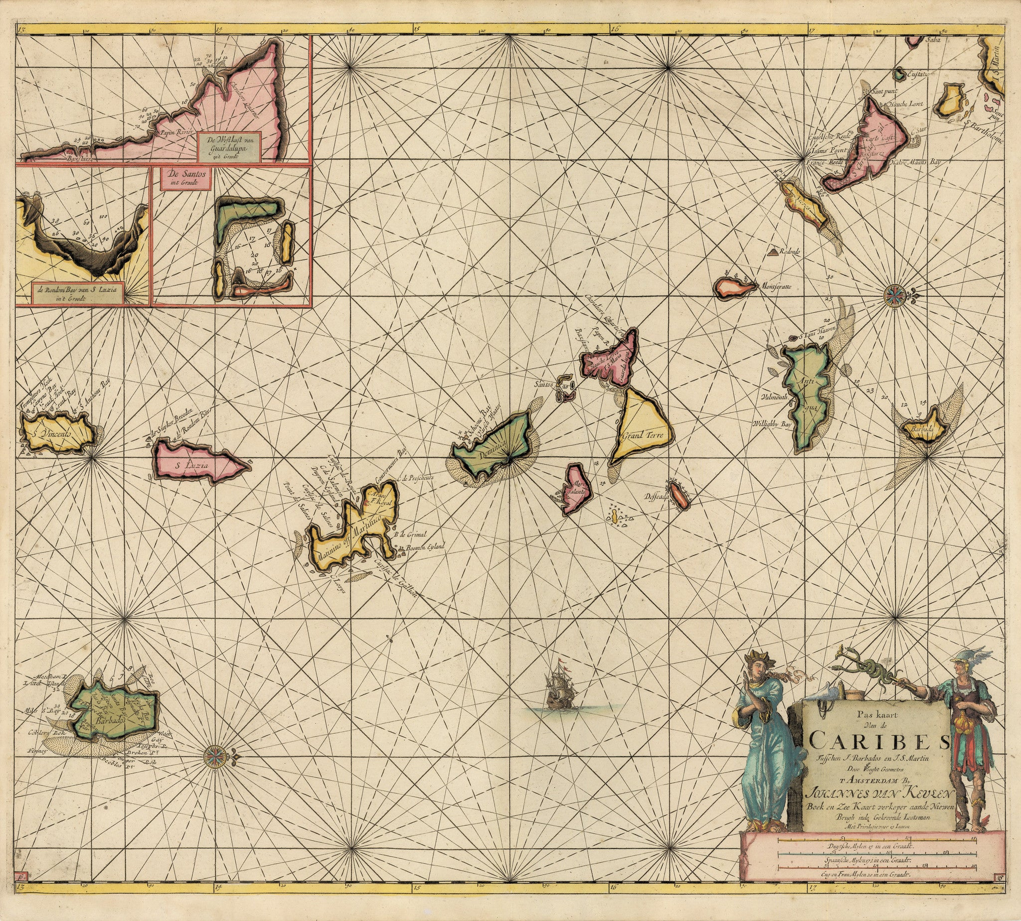 Authentic Antique Map of the Lesser Antilles: Pas kaart Van de Caribes Tusschen I. Barbados en I S. Martin …By: Johannes Van Keulen Date: 1684 (published) Amsterdam