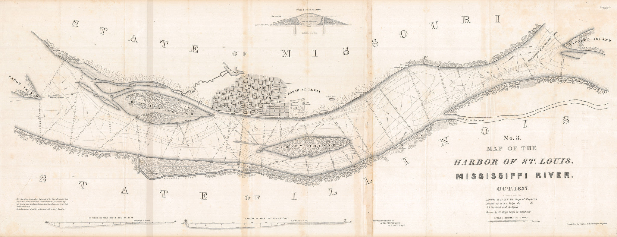 1837 No. 3 Map of the Harbor of St. Louis Mississippi River