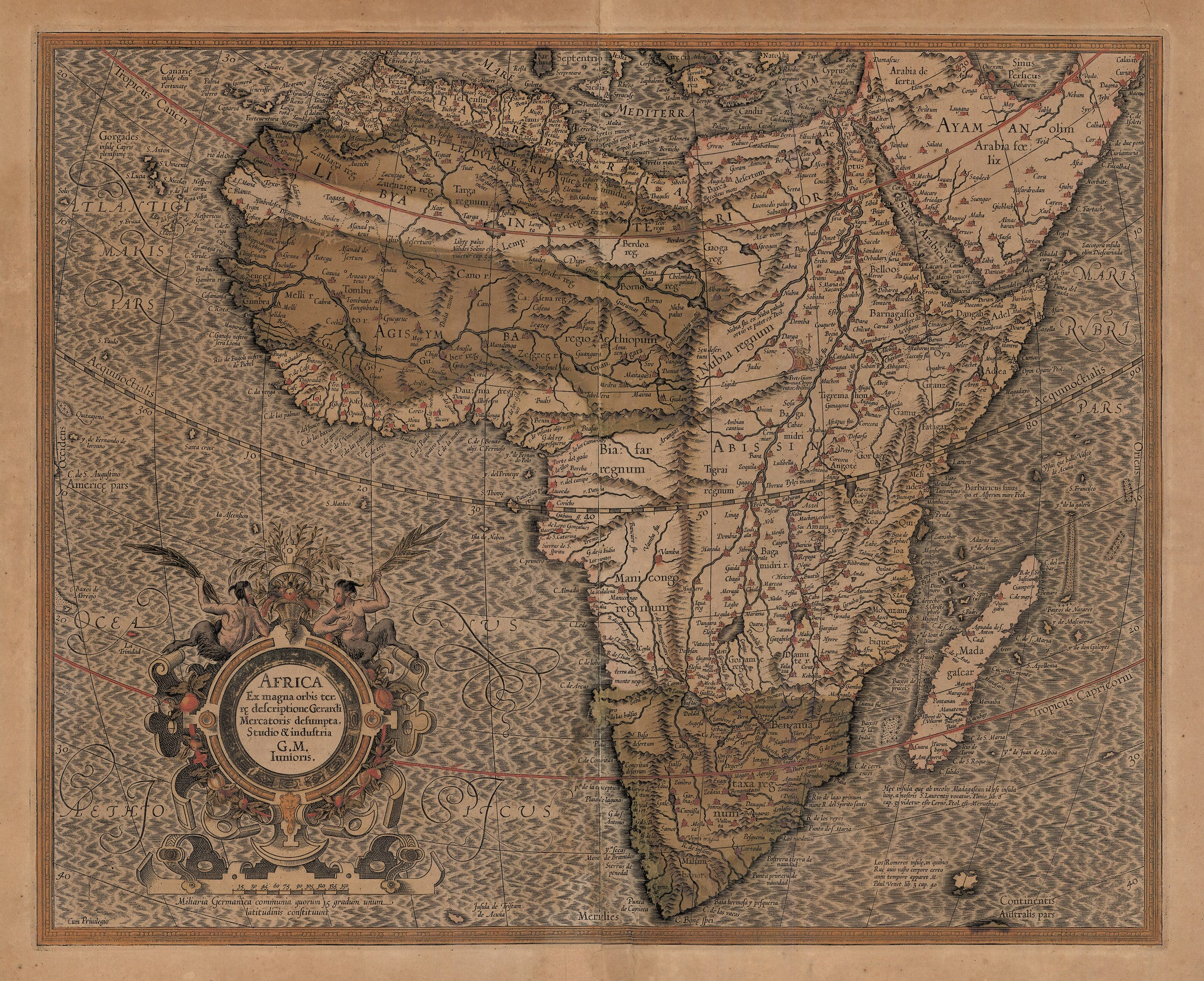Authentic Antique Map of Africa: Africa Ex magna orbis terre descriptione Gerardi Mercatoris desumpta, Studio & industria Gerard Mercator (Junior) Date: 1607 (published) Amsterdam