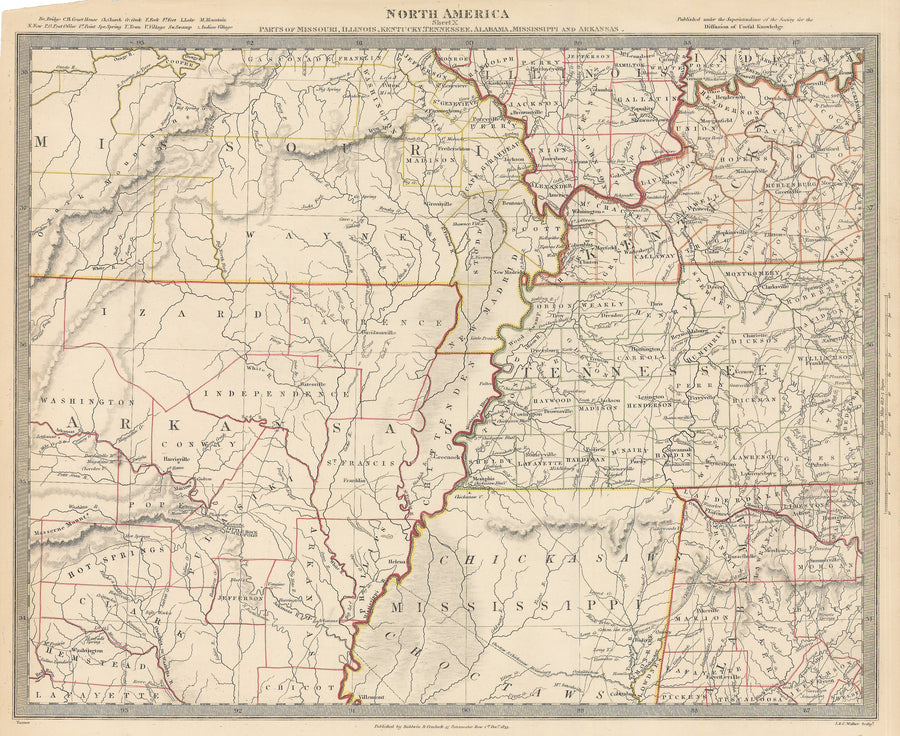 1833 North America Sheet X Parts of Missouri Illinois Kentucky Tennessee Alabama Mississippi and Kansas