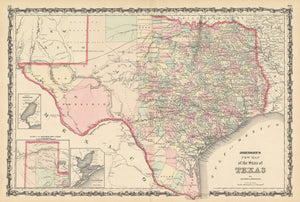 1862 Johnson's New Map of the State of Texas