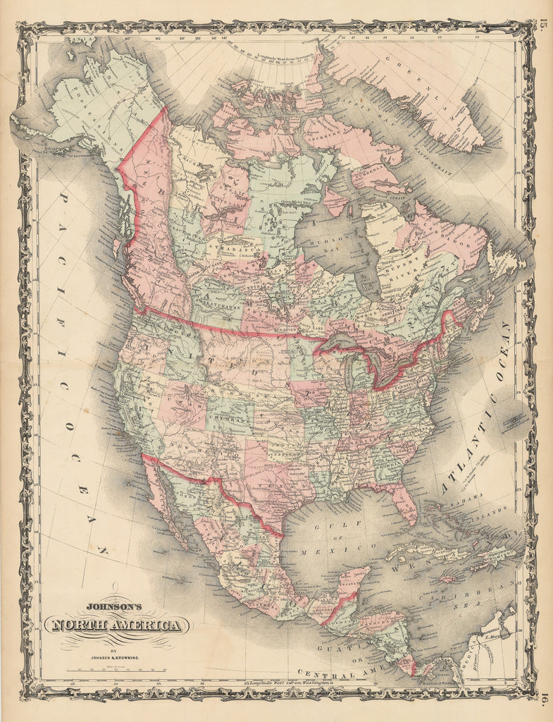 1864 Johnson's North America