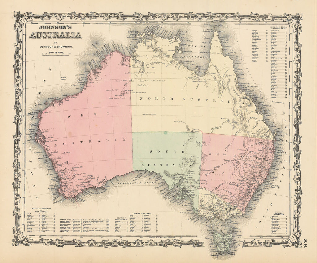 Authentic Antique Map of Australia: Johnson's Australia By: AJ Johnson Date: 1864 (published) New York