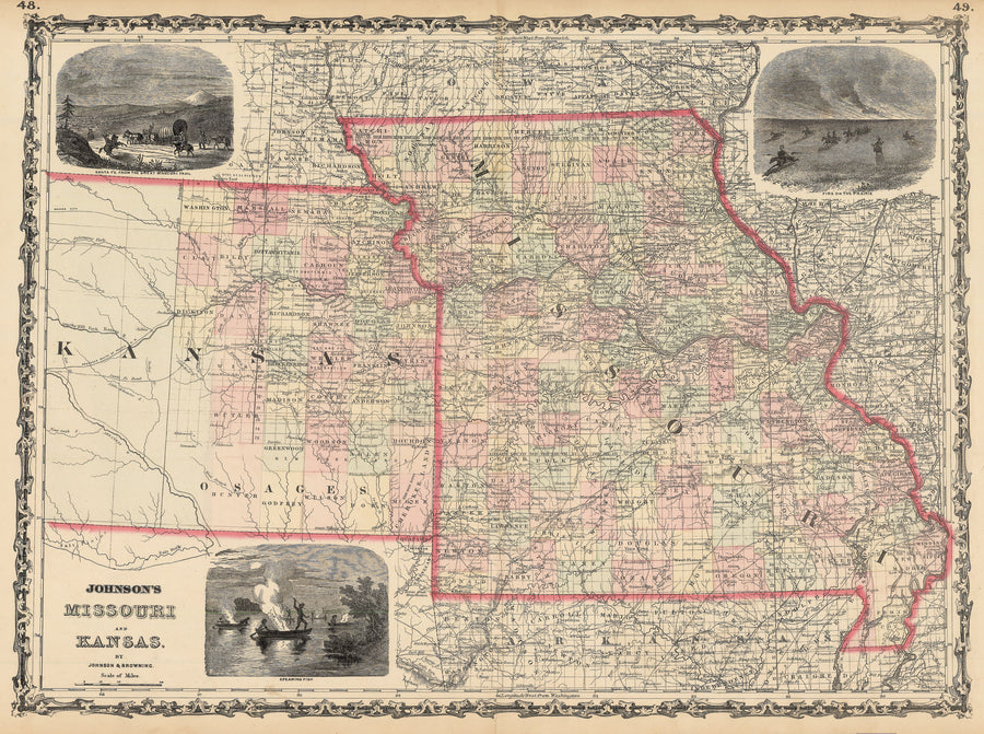 Authentic Antique Map of Missouri and Kansas: Johnson's Missouri and Kansas By: Alvin J. Johnson Date: 1862 (published) New York