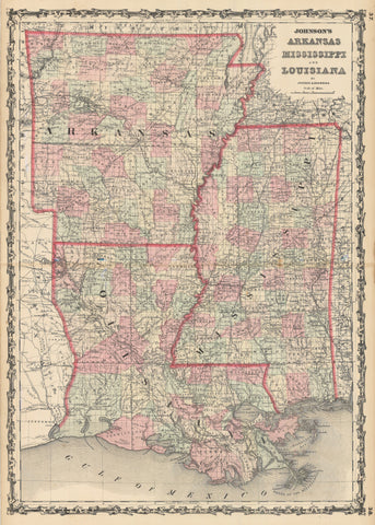 1862 Johnson's Arkansas Mississippi and Louisiana