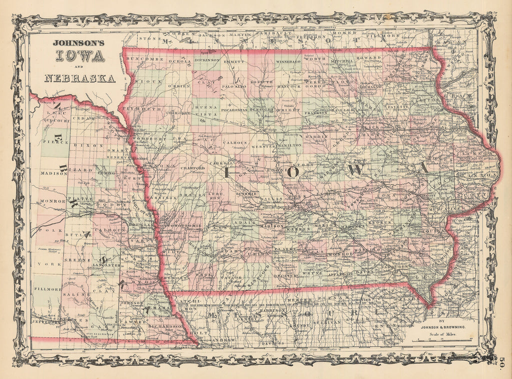 Authentic Antique map of Iowa and Nebraska: Johnson's Iowa and Nebraska By: Alvin J. Johnson Date: 1862 (published) New York